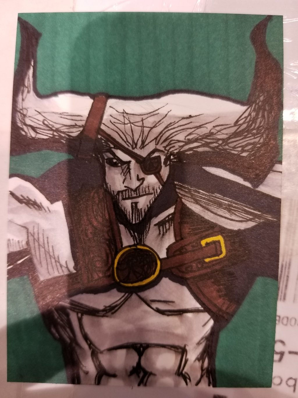 Commission sketchcard of Iron Bull from Dragon Age