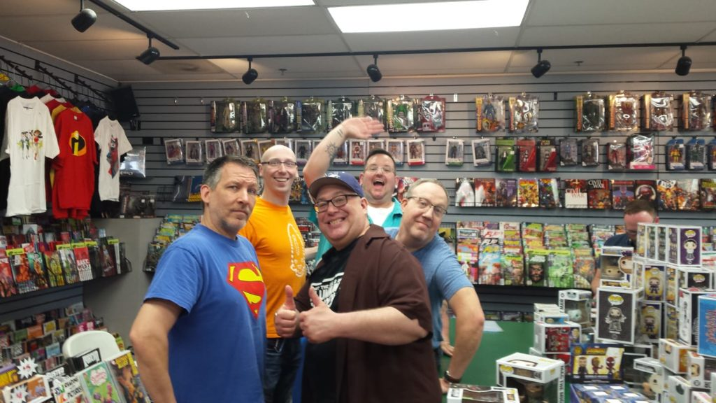 FCBD at Dreamland Comics in Libertyville. From right to left: Charlie, Trevor, Russell, Jeff, and Mark